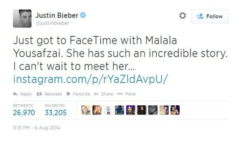 'Can't wait to meet her in person': Justin Bieber, Malala Yousafzai talk online